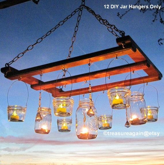 Mason jar chandelier diy candles lanterns luminaries wide etsy image 0 aloadofball Choice Image