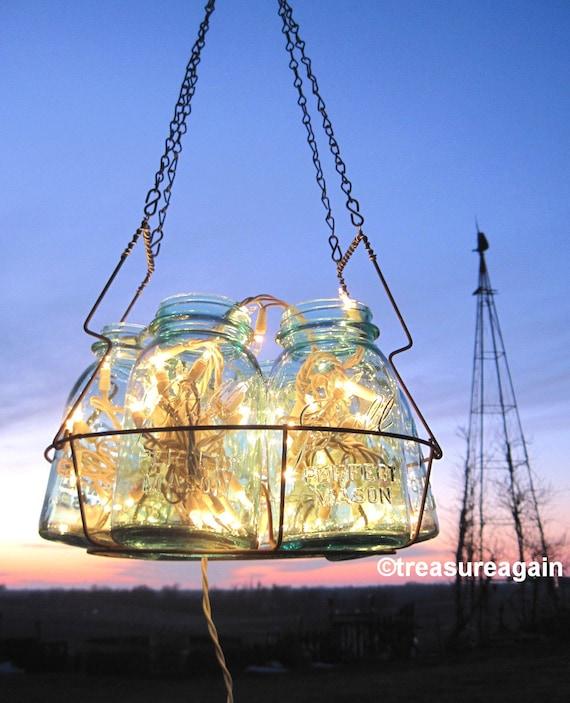 Antique lights mason jar chandelier 6 blue quart ball canning etsy image 0 aloadofball Choice Image