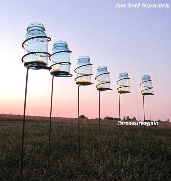 Bon Garden Stake Mason Jar Outdoor Candle Holders Solar Light | Etsy