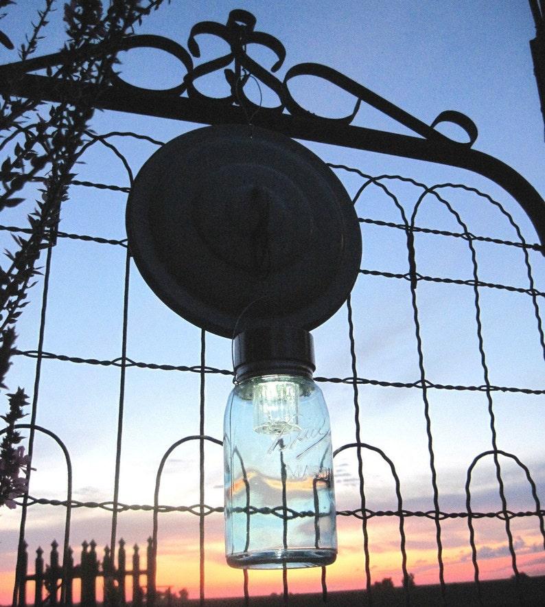 Upcycled Yard Art Solar Jar Light Pan Lid Hook Vintage Ball image 1