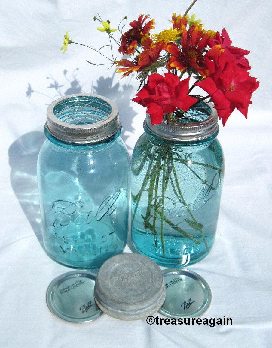 mason jar vase flower frog lid antique blue mason jars ball etsy. Black Bedroom Furniture Sets. Home Design Ideas