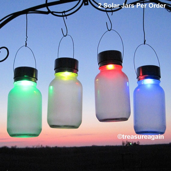 2 Mason Jar Solar Color Orbs Outdoor Garden Decor Accent | Etsy
