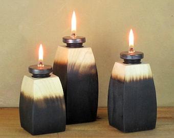 Oil Lamp, Oil Candle, Oil Burner, Rustic Wood