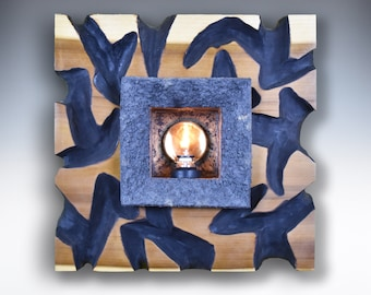 Oil Lamp, Oil Candle, Wall Art, Sculpture, Blue and Tan