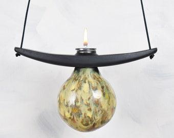 Oil Lamp, Hanging, Globe, jeweled Embers