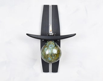 Oil Lamp, Sconce, Globe, Green, Wall Mounted