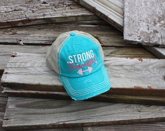 """Distressed Ball Cap """"Strong is Beautiful"""" in Turquoise"""