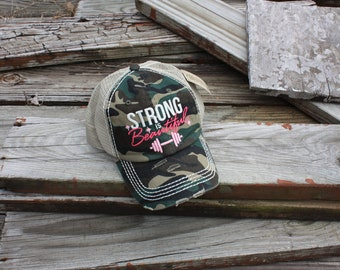 """Distressed Ball Cap """"Strong is Beautiful"""" in Camo"""