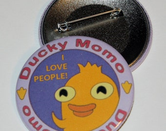 """Ducky Momo """"I Love People"""" Collectible Plate Button/Badge/Pin - Phineas and Ferb"""
