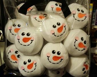 Set of 10 Handmade Snowman Snowballs/Snowball Fight/Bonus Free Yellow Snowball/Games/Family Fun