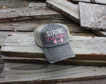 """Distressed Ball Cap """"Strong is Beautiful"""" in Grey"""