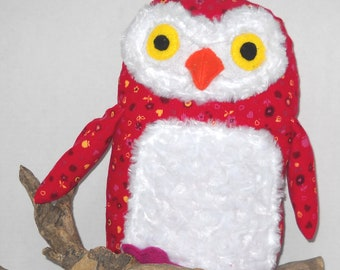 Cute Cuddly Red Owl in Soft Corduroy and Fur