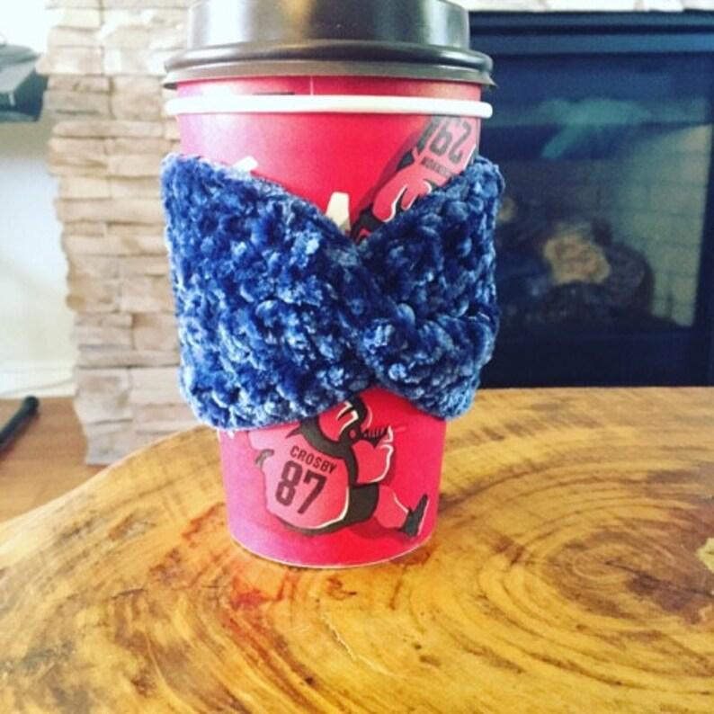 Twisted Turban Velvet Coffee Cozy Pattern Velvet Coffee Cozy image 0