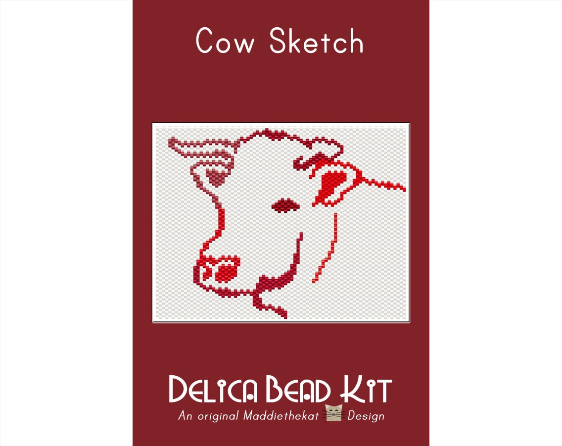 Cow Sketch Simple Small Panel Peyote Bead Pattern PDF or | Etsy