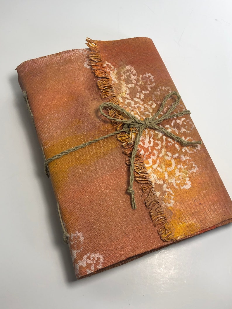 Mixed Media Canvas Covered Hand bound Art Journal image 0