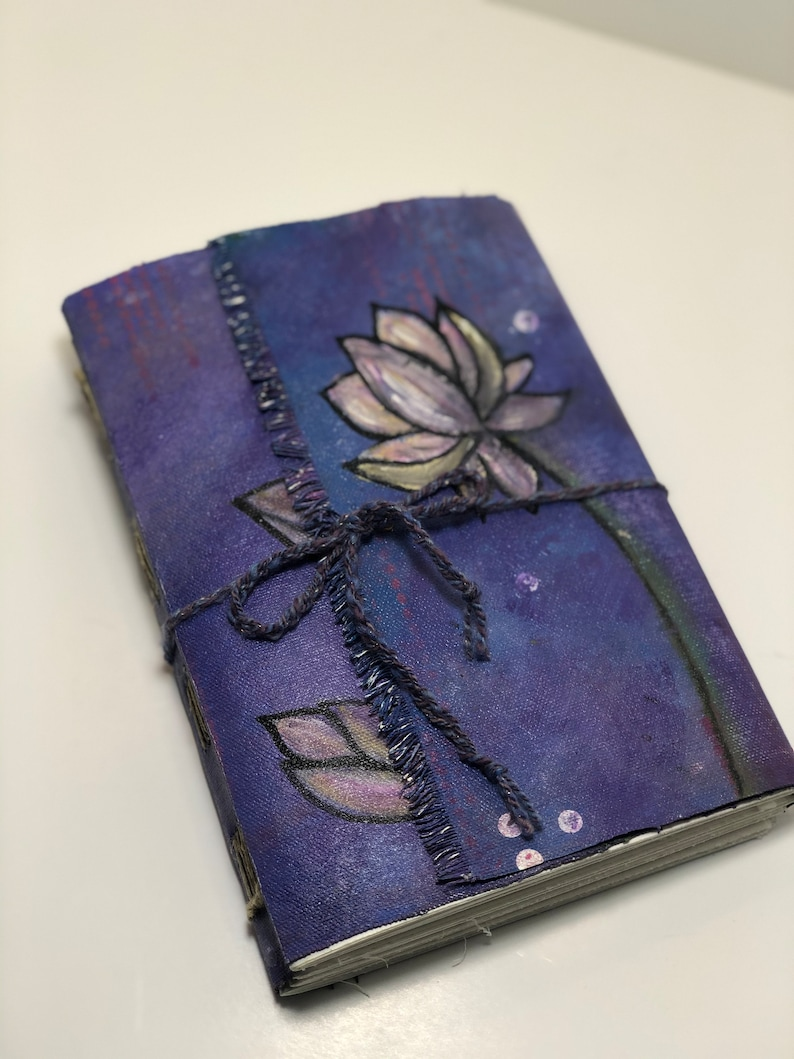 Canvas Covered Original Artwork Hand bound Art Journal image 0