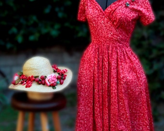 """STRAWBERRY Dress &Matching Hat Spring/Summer Outfit """"Givenchy"""" Strawberry Print  Cotton  Set Item # 500  Daytime Dresses"""
