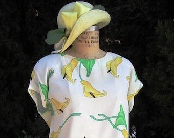 Dress & Hat Designer Carole Little Calla Lily Print Dress/ Matching Custom made Hat  Size 12  Set Item #856  Daytime Dresses