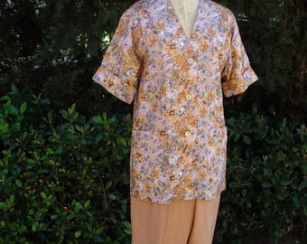 Floral Silk Jacket/ Pant to Match  Size 12 Optional Blouse  Item # 725  Spring/Summer Apparel