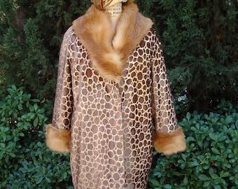Leopard Devore Velvet Gold Lame' Coat Real Fox Trim  One of a Kind Designer Original Reduced   Item # 227,  Coats