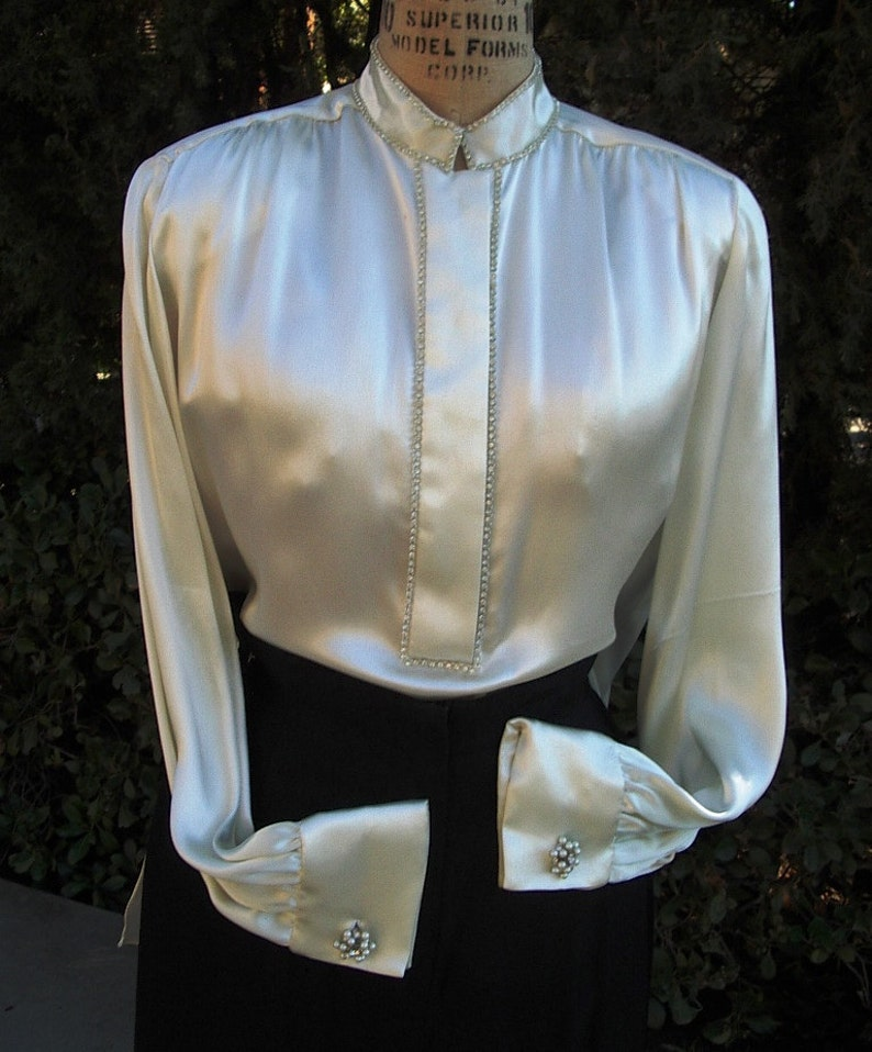 RED CARPET 2 Pc Tuxedo Outfit  Rhinestoned Satin Blouse/Cuff image 0