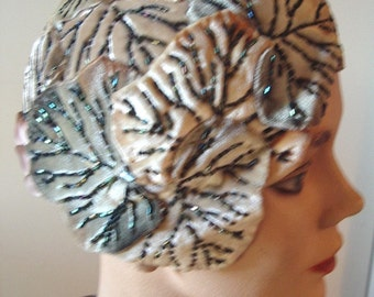Hand Beaded Velvet Leaves Satin Drape 20's Style Cloche Designer Original Item #723  Hats