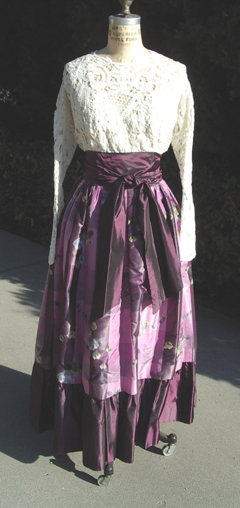 Plaid Warp Silk Taffeta Long BALL Skirt Original Designer Sample  Size10 Item #658 Dresses /& Gowns