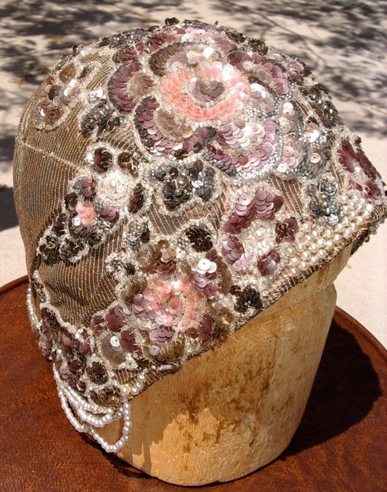 1920s Original Sequin Beaded Pearl Draped Metallic Helmet image 0