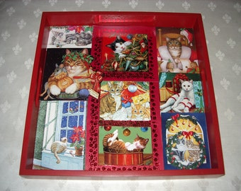 Christmas Cats Serving Tray New Holiday Item # CT 19 Collectibles