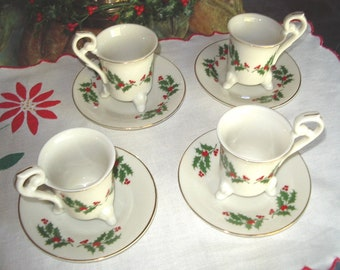 Christmas Demi-Tass Cafe'Brulot/Glug  Cups Made  Specially for Nieman Marcus #CH 200 Antiques & Collectibles