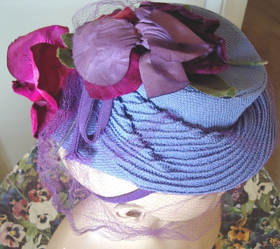 """1940's """"TOY"""" Style Cocktail Hat Blue Strawcloth/ … - image 3"""