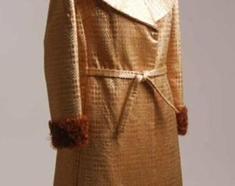 Bronze Metallic Plaid Satin Evening Coat Fur Trim Designer Original Sample Reduced  Item #701,  Coats