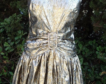 OSCAR Gown Gold/ Silver Metallic Brocade  Designer Original One=of-a-Kind  Size: 10  Item #829  Gowns/dresses