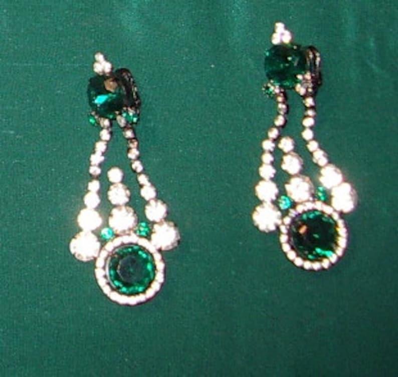 1970s Kenneth J. Lane Emerald/ Rhinestone Drop Earrings Clip image 0