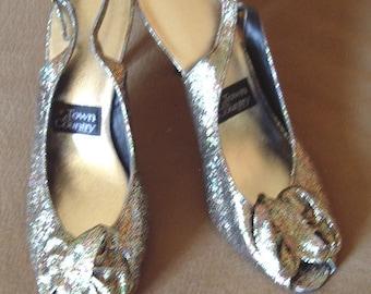 Gold Lame' Brocade Evening Sling Back Pumps  Item #SH7 Size 7 Med.   Shoes