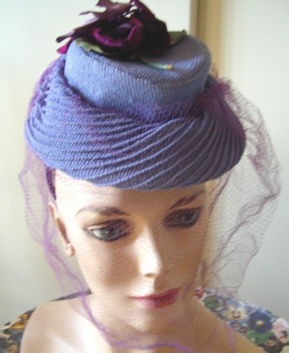 """1940's """"TOY"""" Style Cocktail Hat Blue Strawcloth/ … - image 2"""