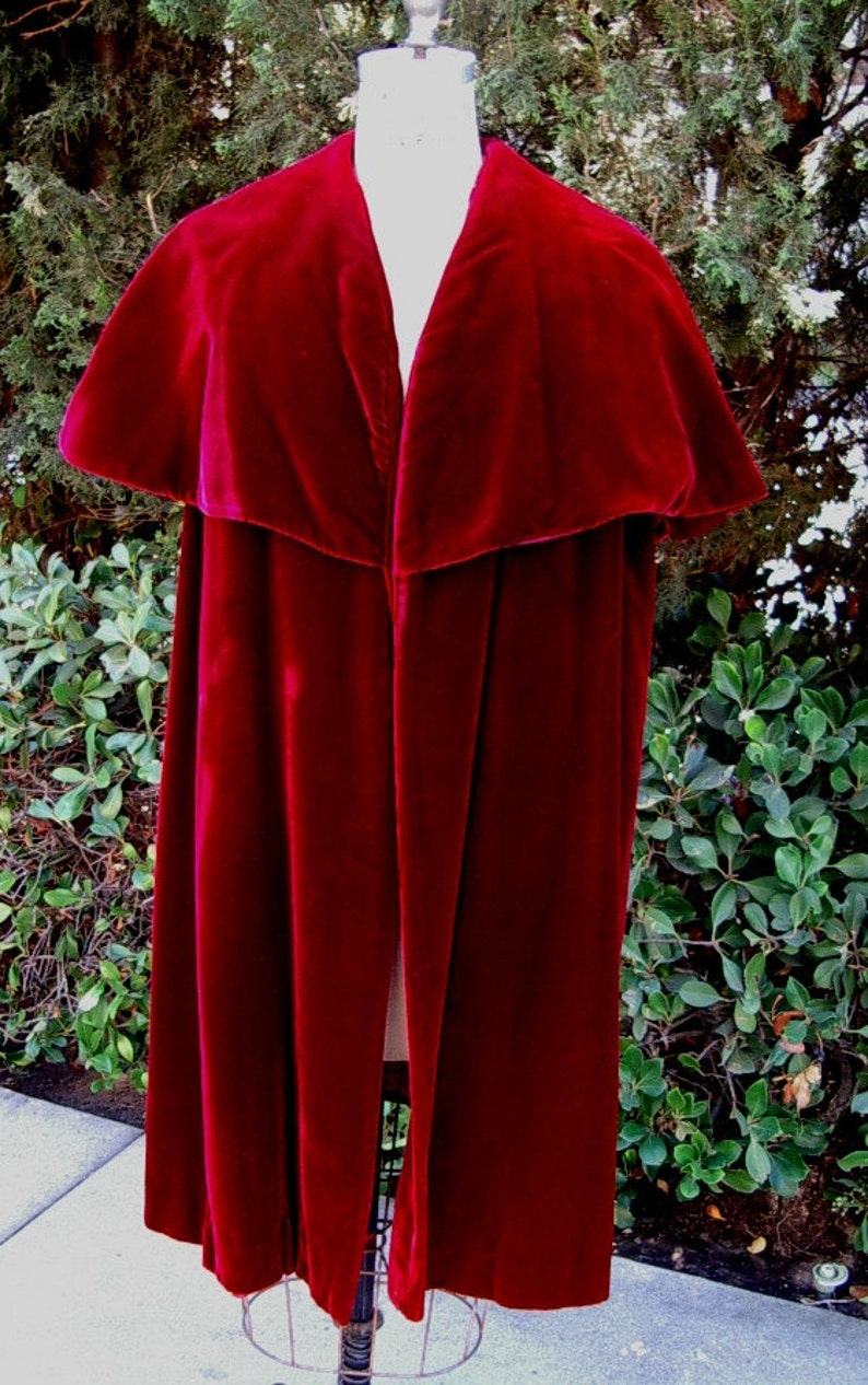 1950s Ruby Velvet Cape Collar Evening Coat Designer Original image 0
