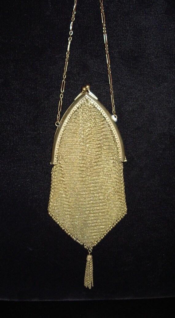 1920s Original 10K Gold Filled Metal Mesh Small Pu