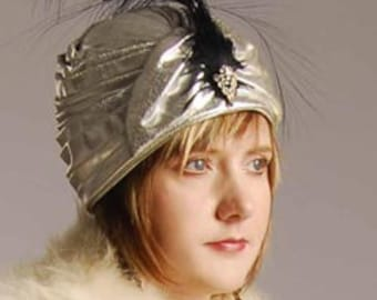 Poiret 1920s Style Silver Lame Turban Hat -Perfect Item #719, Hats