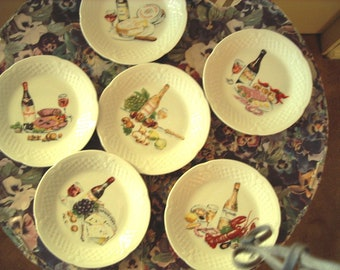 """French Appetiser Wine/Chese Theme 6 Small Plates 53/4"""" by """"Philippe Deshoulieres"""" Item #470 Antiques & Collectibles"""