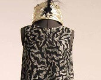 "1920s ""Poiret"" Style Silver Devore Chiffon Tunic/Mini over Matte Jersey Gown   Item #625 Gowns/ Dresses"