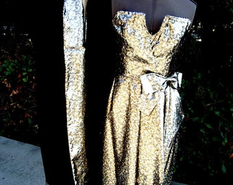 Gold Lame' Brocade Gown with Faux Mink Stole /Matching Lining by Designer Victor Costa Size 6 Item #727  Gowns and Dresses