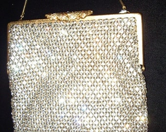 Sparkling! All Rhinestone Purse Great Holiday Gift Jeweled Gold Clasp Perfect Condition Item #89 Purses
