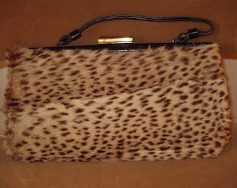 Vintage 1950s Wildcat Fur Covered New Handbag   Item #27 Small Furs/ Purse