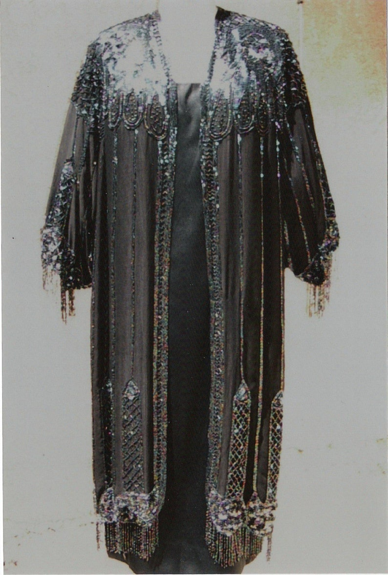 Original 20's Deco Beaded Satin Coat/ 60's Satin Gown/ image 0