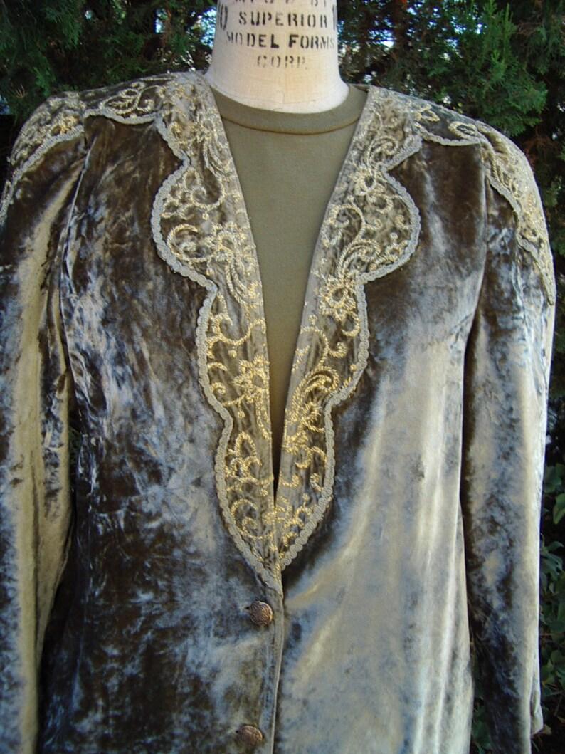 Sage/Olive Lame' Velvet Jacket Gold Metallic Embroidery image 0