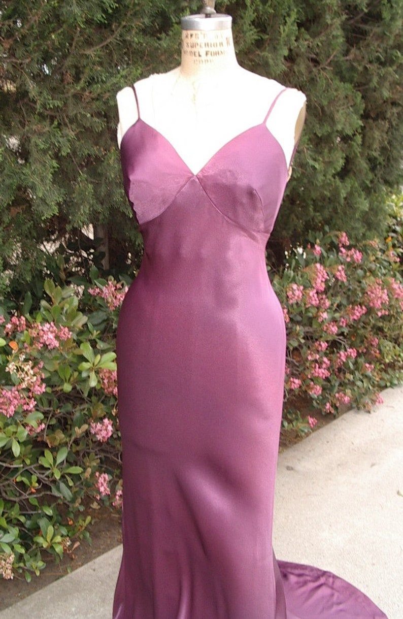 Bias Cut Purple Satin Crepe 30s Style Harlow Gown image 0