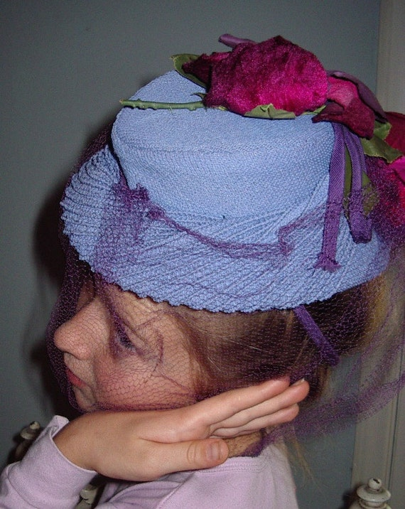 """1940's """"TOY"""" Style Cocktail Hat Blue Strawcloth/ … - image 4"""
