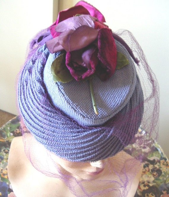 """1940's """"TOY"""" Style Cocktail Hat Blue Strawcloth/ F"""
