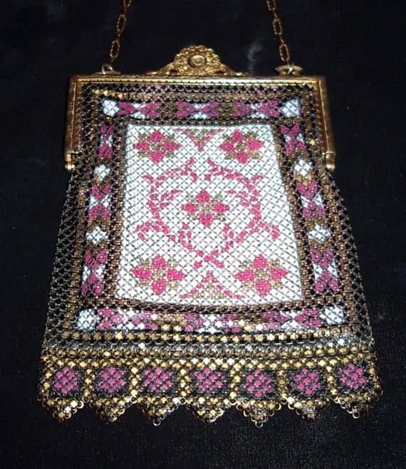 1920s Mandalian Carpet Design Painted Metal Mesh P